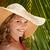 portret · vrouw · strohoed · strand · glimlachend · jonge - stockfoto © diego_cervo