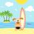 verano · perro · surfista · funny · cielo · agua - foto stock © Dimpens