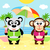 summer background with monkey and panda stock photo © dimpens