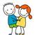 küçük · kız · küçük · erkek · en · İyi · arkadaşlar · gülümseme · çocuklar - stok fotoğraf © dip