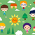 summer camp seamless pattern with happy little kids stock photo © dip