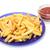 primer · plano · ternera · frito · patatas · vidrio · fondo - foto stock © discovod
