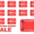 collection of red shopping basket sale tags discount signs 3d stock photo © djmilic