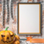 jack o lantern pumpkin chains and mock up blank poster on white stock photo © djmilic