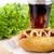 hotdog · ketchup · mustár · kóla · fából · készült · palánk - stock fotó © dla4