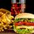 grande · cheeseburger · vidro · cola · preto - foto stock © dla4