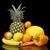 set of yellow fruits mandarinorangecitrusbananas on black at the bottom stock photo © dla4