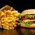 grande · cheeseburger · patatine · fritte · nero · tavolo · in · legno - foto d'archivio © dla4