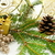 golden christmas gifts with golden ribbon and needles fir with r stock photo © dla4