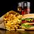 grande · cheeseburger · vetro · cola · patatine · fritte · nero - foto d'archivio © dla4