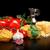 round balls of pasta with cheesetomatoesbasilolive oil on black stock photo © dla4