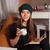 nő · ital · olvas · könyv · kávézó · emberek - stock fotó © dmitroza