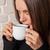 kobieta · pitnej · herbaty · młoda · kobieta · Kafejka · tutaj - zdjęcia stock © dmitroza
