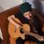 nő · játszik · gitár · hipszter · énekel · zene - stock fotó © dmitroza