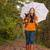 kicsi · lány · esernyő · boldog · visel · esőkabát - stock fotó © dnf-style