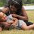 embarazadas · nina · verano · forestales · mirando · abdomen - foto stock © dnf-style
