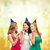három · mosolyog · nők · sapkák · fúj · szívesség - stock fotó © dolgachov