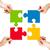 quattro · persone · pezzi · del · puzzle · quattro · la · gente · 3d · gruppo - foto d'archivio © dolgachov