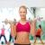 улыбающаяся · женщина · стали · гантели · фитнес · здравоохранения - Сток-фото © dolgachov