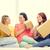 sorridere · amici · divano · scatole · nuova · casa · movimento - foto d'archivio © dolgachov