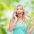 boldog · vicces · néz · fiatal · nő · hív · valaki - stock fotó © dolgachov