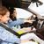 gelukkig · gezin · weinig · kind · rijden · auto · familie - stockfoto © dolgachov