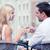couple drinking wine in cafe stock photo © dolgachov