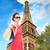 mutlu · kadın · Eyfel · Kulesi · insanlar · tatil - stok fotoğraf © dolgachov