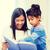 colegiala · maestro · lectura · libro · clase · mujer - foto stock © dolgachov
