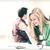 fille · heureuse · pomme · vert · regarder · ordinateur · portable · écran - photo stock © dolgachov