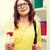 mosolyog · női · diák · szemüveg · diploma · egyetem - stock fotó © dolgachov