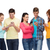 group of smiling teenagers with smartphones stock photo © dolgachov