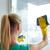 gelukkig · vrouw · handschoenen · schoonmaken · venster · vod - stockfoto © dolgachov