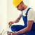 építész · munkavédelmi · sisak · táblagép · építkezés · üzlet · épület - stock fotó © dolgachov