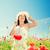 улыбаясь · соломенной · шляпе · мак · области · счастье - Сток-фото © dolgachov