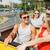 tinilány · barátok · utazó · turné · busz · utazás - stock fotó © dolgachov