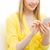 close up of woman texting on smartphone at home stock photo © dolgachov