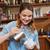 barista · yakışıklı · genç · plastik · fincan - stok fotoğraf © dolgachov