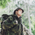 young soldier with backpack in forest stock photo © dolgachov