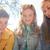 üç · genç · kız · arkadaşlar · oturma · açık · havada · gülen - stok fotoğraf © dolgachov