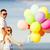 boldog · apa · lánygyermek · színes · léggömbök · nyár - stock fotó © dolgachov