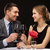 couple · potable · rose · vin · restaurant · sourire - photo stock © dolgachov