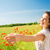 mulher · flores · vermelhas · campo · feliz · vestido · branco - foto stock © dolgachov