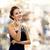 улыбающаяся · женщина · вечернее · платье · люди · праздников · гламур · черный - Сток-фото © dolgachov
