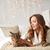 donna · cat · rilassante · divano · home - foto d'archivio © dolgachov