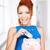 tonen · spaarvarken · afbeelding · roze · glimlachend · vrouwelijke - stockfoto © dolgachov