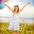 boldog · lány · integet · kezek · színes · léggömbök · nyár - stock fotó © dolgachov