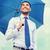 бизнесмен · зонтик · безопасности · изолированный · белый · бизнеса - Сток-фото © dolgachov