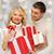 vrouw · veel · christmas · presenteert · witte - stockfoto © dolgachov