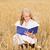 gülen · genç · kadın · beyaz · elbise · tahıl · alan · ülke - stok fotoğraf © dolgachov